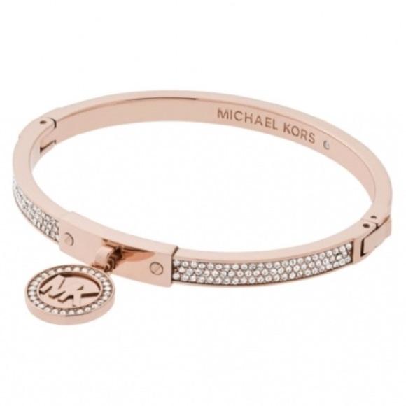174020029 Michael Kors Jewelry | New Authentic Mk Logo Charm Rosegold Tone ...